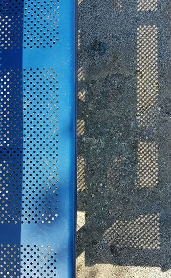 Backgrounds Blue Close-up Day Full Frame High Angle View Highway Furniture Holes Holiday Metal No People Outdoors Pattern Picknickbench Shadow Pattern Sun Textured