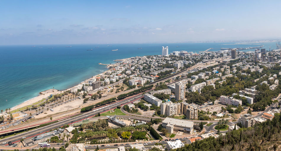 Haifa, Israel, August 25, 2018 : Panoramic view of the Downtown and the bay of Haifa from Mount Carmel in the area of the of Stella Maris Monastery Cityscape Downtown Haifa Israel Haifa Bay Harbor Mediterranean Sea Panoramic View Roads Skyline Stella Maris Monastery Travel Architecture Beutiful  Buildings Day High Angle View Horizon Metropolis Mount Carmel Nature Port Ship Tourism Destination Urban Water