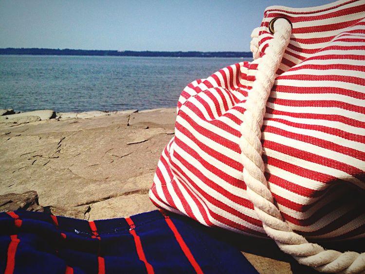 Meditation Beach St-Lawrence Seaway Canada Beach Bag Enjoying Life Traveling Nautical Marin