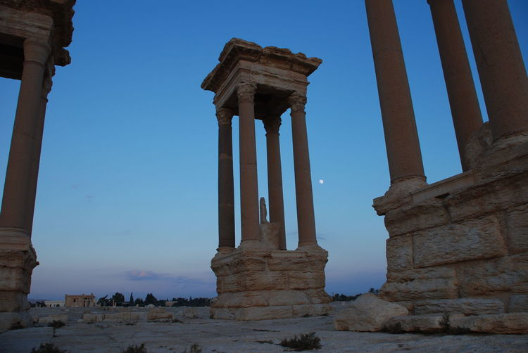 2009 Ancient Civilization Archaeology Architectural Column Architecture Before Clear Sky Day History No People Old Ruin Outdoors Palmyra Roman Pillars Roman Ruins Tetrapylon Of Palmyra Travel Destinations