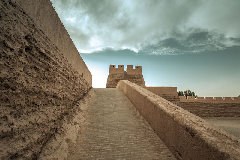 The Great Wall of Ming Dynasty near Jiayuguang, Gansu China Ancient Architecture Brick Castle China Culture Defense Famous Fort Great Wall Heritage Hill History Landmark Landscape Ming Dynasty Mountain No People Protection Sections Sky Structure Tourism Travel Destinations Wonder