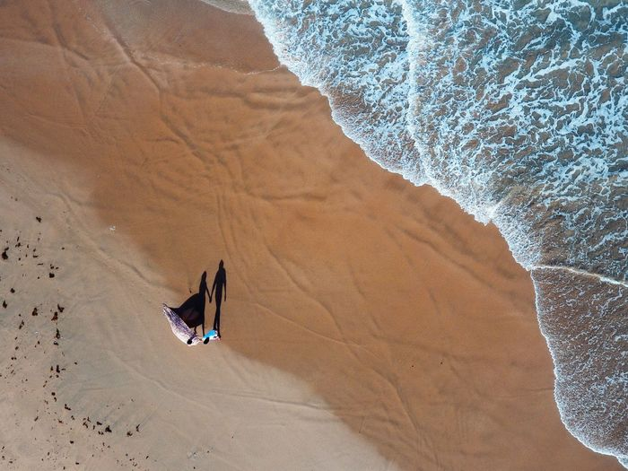 High angle view of person on sand dune in desert