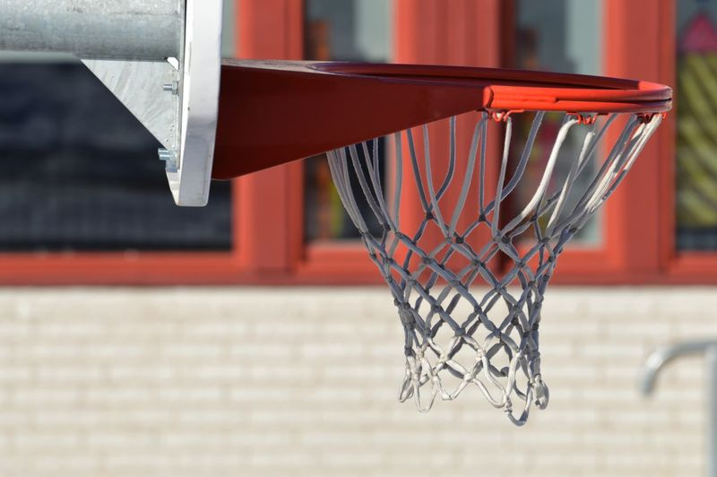 Close-up of basketball hoop