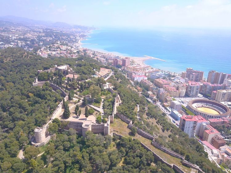 Aerial View Architecture Beauty In Nature Built Structure Castillo Gibralfaro City Day Drone  Dronephotography Droneshot High Angle View Hollidays Malaga No People Outdoors Sea Sky SPAIN Tree