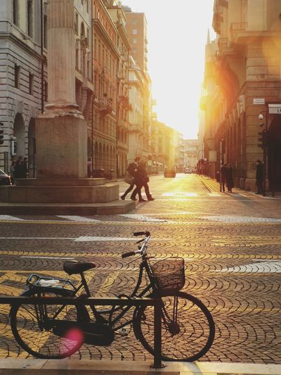 Sunset Italy Sun Streetphotography Street Photography Silhouette Bycicle City Street Streets People Nikon Architecture People And Places