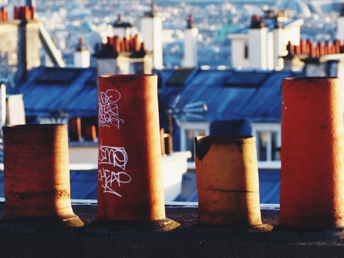 Chimney Chimney Tops Chimney Pots Graffiti Art Skyline Rooftop Paris