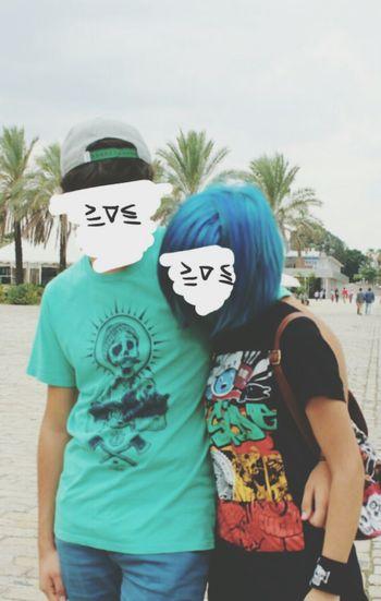 Jorge and me. Love Censored Faces BlueHair Seville KAWAII