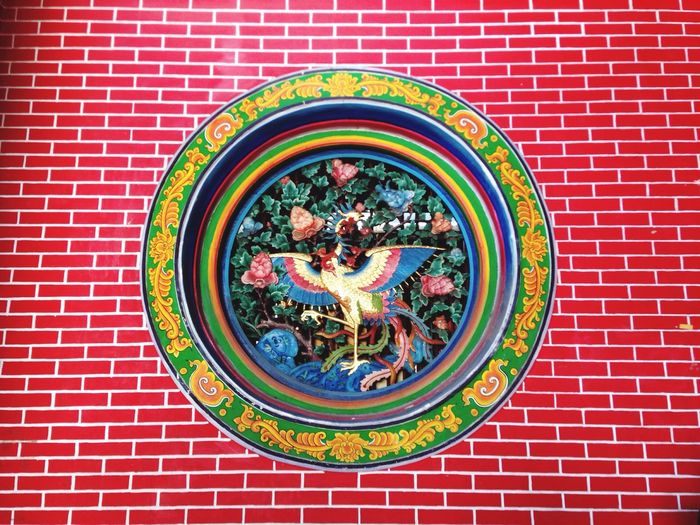 Chinese bird Red Wall Red Brick Painting On Wall Chinese Style Chinese Bird Wall Style Brick Wall Chinese Temple Morning