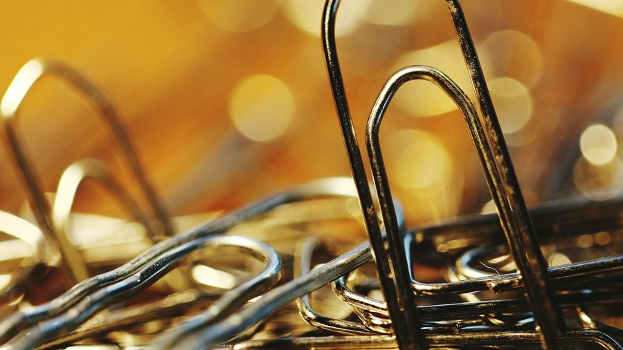 Close-up of a paperclip