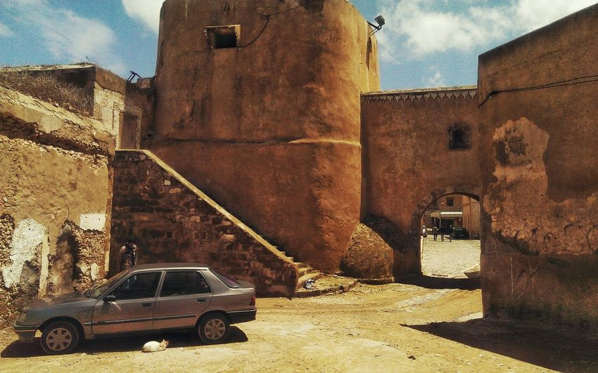 Taking Photos Hanging Out Contrast Geometry Old Buildings Elements Built Structure Morocco Architecture Building Exterior Traveling Old Travel Mazagan Street Perspective Composition Historic