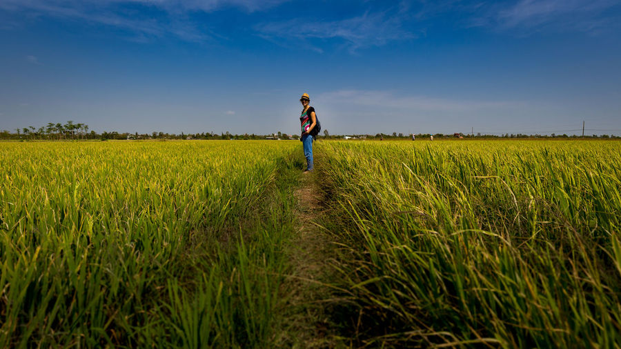 The sky is the limit Agriculture Blue Sky Field Girl Grass Hiking Horizon Over Land Landscape Leisure Activity Mekong Mekong Delta Nature Outdoors Plant Rice Field Rural Rural Scene Tourist Walk Walking Around Woman