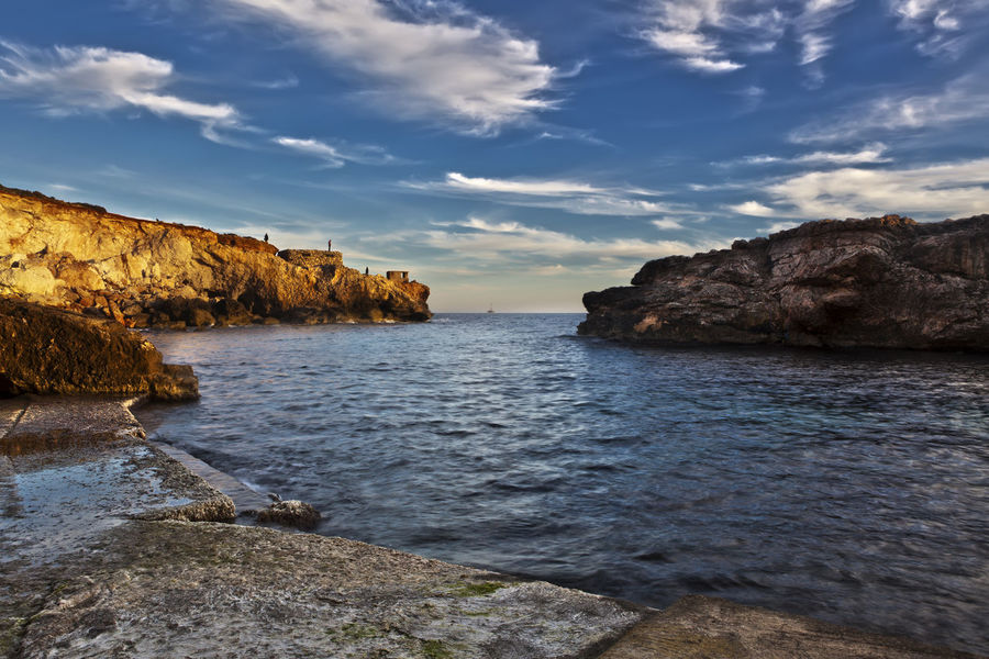 Ghar Lapsi Beauty In Nature Cliff Day Nature No People Outdoors Rock - Object Scenery Scenics Sea Sky Tranquil Scene Tranquility Water