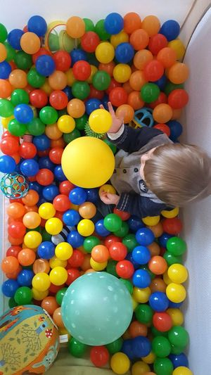 One ballbath a day keeps you happy hurrah!!! Multi Colored Variation Large Group Of Objects Indoors  Balls Balloons Ball Pool Childhood Toddler  Baby Playing Growing Up Looking Down Learning Mother And Son Holding Childrens Clothing Interior Design Happiness Ball Games Throwing Ball Boy Indoor Activities Rainbow Love