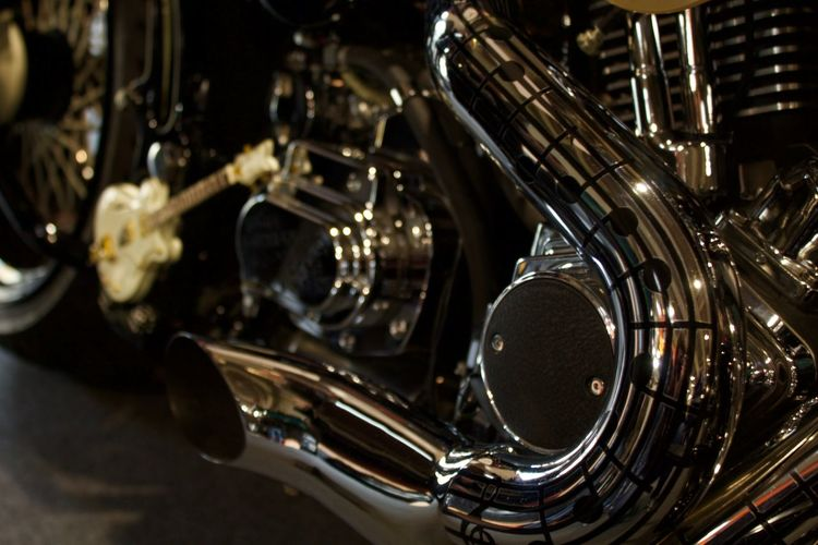 Close-up of motorcycle exhaust pipe