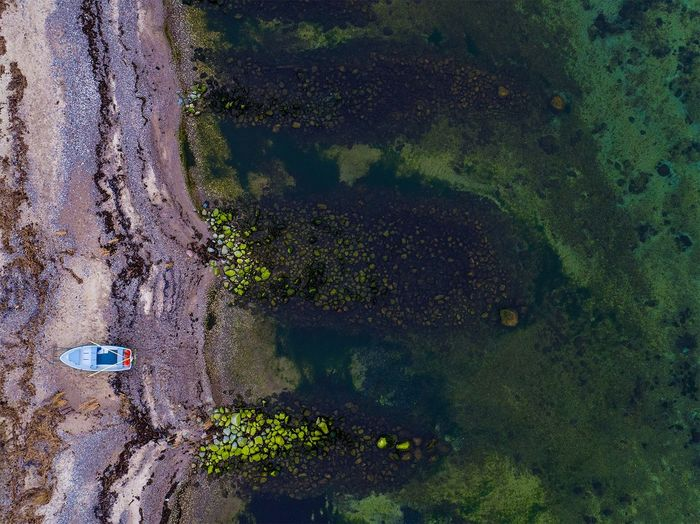 Off season Transportation High Angle View Mode Of Transport Growth Tranquility Nature Day Green Color Outdoors Non-urban Scene Scenics Tranquil Scene Footpath Drone  Dronephotography Boat Sea Water Shoreline Sweden Sweden Nature A Bird's Eye View
