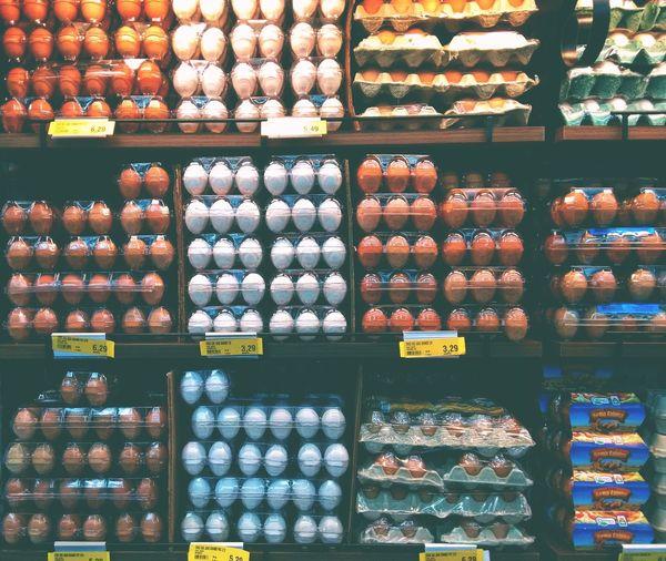 Full frame shot of eggs for sale at store