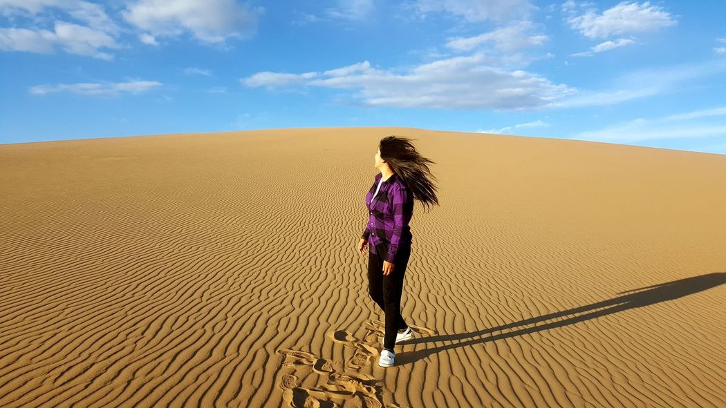 Mongolia Summer Travel 배낭여행 Love Nature Happy Time Nature Lover Gold Sand Blue Sky Beutiful Nature Sand Dune Desert Sand Women Sky Landscape
