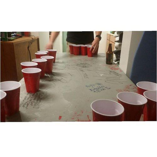Beer pong adventures from last night Beerpong LastNight Sailor Friday Fun Beer Winning USN Redcups WhoWantIt Killingit Lineemup