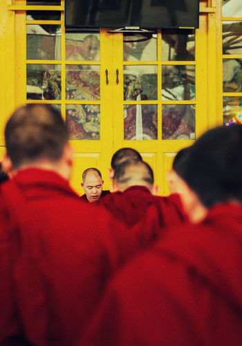 the Monk Monk  Chinatown God Red Yelow Redandyellow Overshoulder