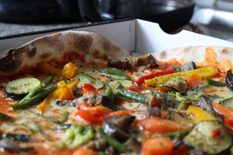 Close-up of pizza in box