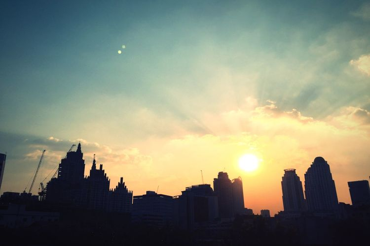 Architecture Building Exterior Sky Sunset Built Structure Sun City Silhouette No People Modern Outdoors Cityscape Cloud - Sky Nature Skyscraper Day The City Light Bangkok Thailand. Bangkok Thailand Sunlight Highway The City Light