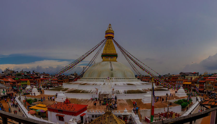 A panoramic view of Boudhanath Stupa which is also unesco world heritage sites Nepal. Boudhanath Stupa Kathmandu, Nepal Nepal Praying For World Peace UNESCO World Heritage Site Architecture Belief Boudha Building Exterior Dusk Nepali Culture Old Culture Place Of Worship Stupa Nepal Tourism Travel Travel Destinations First Eyeem Photo
