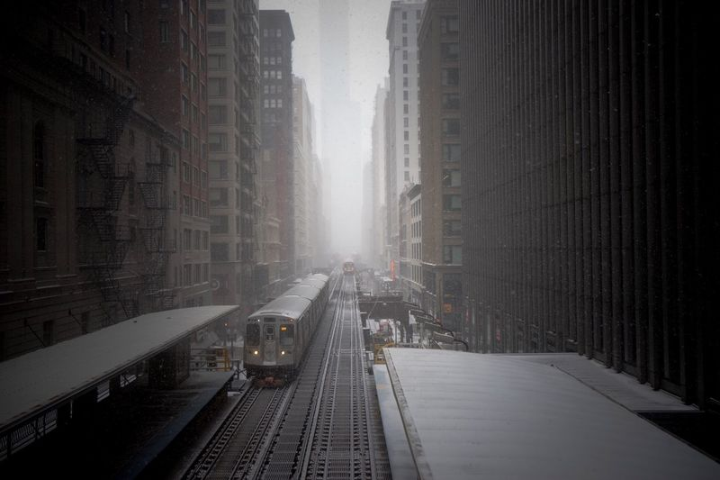Panoramic view of city during winter