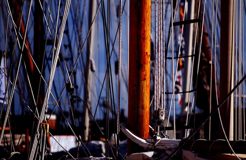 Maritime Photography Masts And Rigging No People Blue Background Sailing Ship Nautical Vessel Focus On Foreground Travel Pole Mast