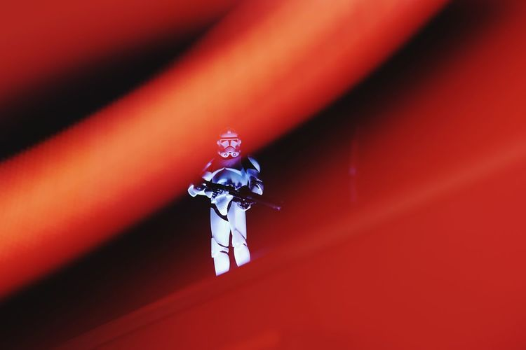 Red No People Close-up Human Representation Indoors  Representation Male Likeness Spirituality Toy Single Object Religion Technology Belief Still Life Robot Figurine  Low Angle View Creativity Day Light Painting Clonetrooper Clone Trooper Star Wars Light And Shadow Star - Space Hobby Toys Scale Model Scale Model Photography