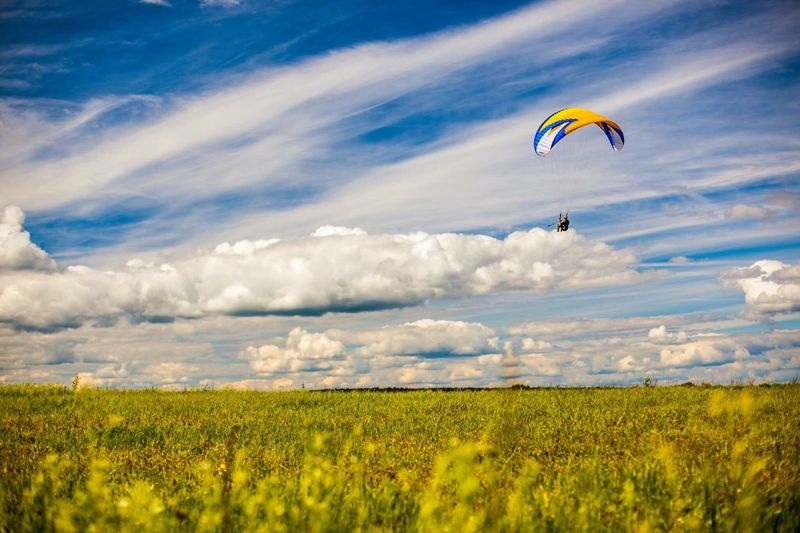 Person paragliding in field against sky