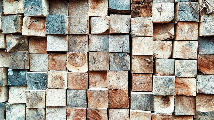 Abundance Backgrounds Block Brick Brown Built Structure Close-up Day Full Frame Large Group Of Objects No People Outdoors Pattern Repetition Side By Side Stack Textured  Wall - Building Feature Wood Wood - Material