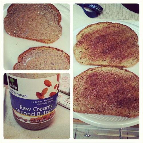 Late breakfast. Cinnamontoast Almondbutter