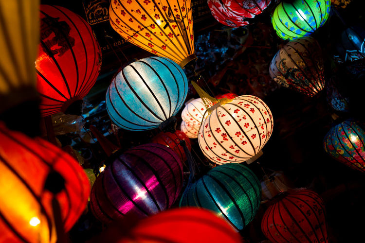 Close-up of multi colored lantern