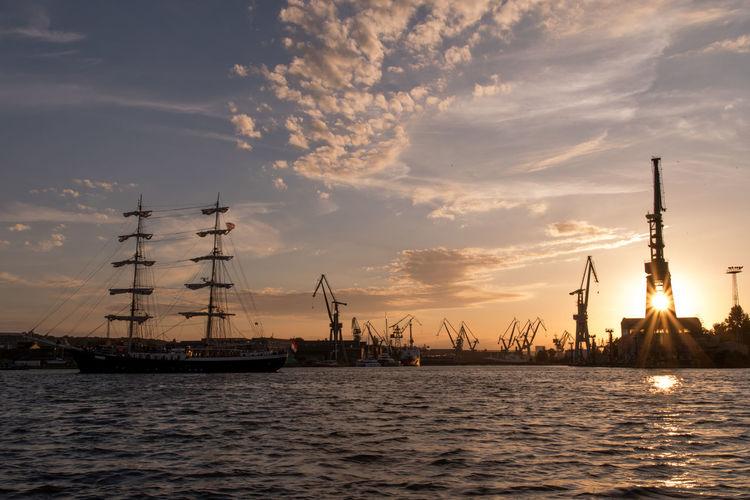 EyeEm Best Shots EyeEm Selects Harbour Poland Cloud - Sky Gdansk Port Gdańsk Sailing Ship Sea Ship Sky Sunset Water