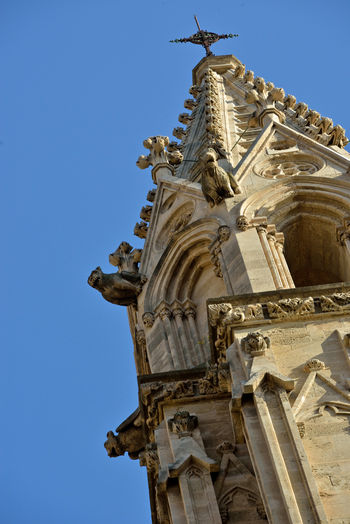 detail of of Palma di Maiorca gothic cathedral Low Angle View Religion Belief Place Of Worship Spirituality Built Structure Architecture Building Exterior No People Gothic Style Sculpture Palma De Mallorca Cathedral Church Architecture Highlights Detail Sky Tower Ornate Clear Sky