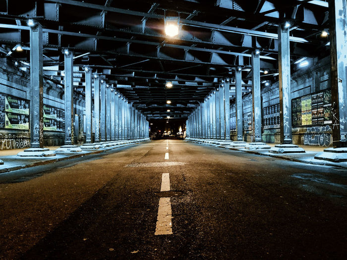 Direction The Way Forward Illuminated Road Transportation Architecture Lighting Equipment Sign Symbol Built Structure Diminishing Perspective Empty No People Road Marking Marking Connection Night vanishing point City Indoors  Light Architectural Column Ceiling Hansaring Maybachstraße