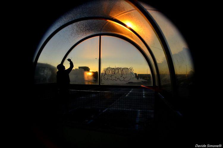 Street artist Cirular Graffiti Art One Person Silhouette Sky Streetphotography Sunset Tag