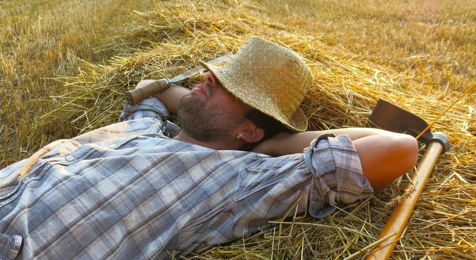 Spontaneous farmer EyeEm Selects Sitting Lying Down Men Relaxation Field Sleeping Grass Straw Napping Farmland Farmer Farm Worker Farm Hay Hay Bale At Home