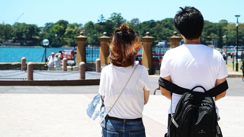 Rear View Two People Adults Only Togetherness Outdoors Clear Sky SonyA7s Sydney Botanical Gardens  Asian Couple Traveling White Shirt Fashion Day Adult People Break The Mold Fashion Stories