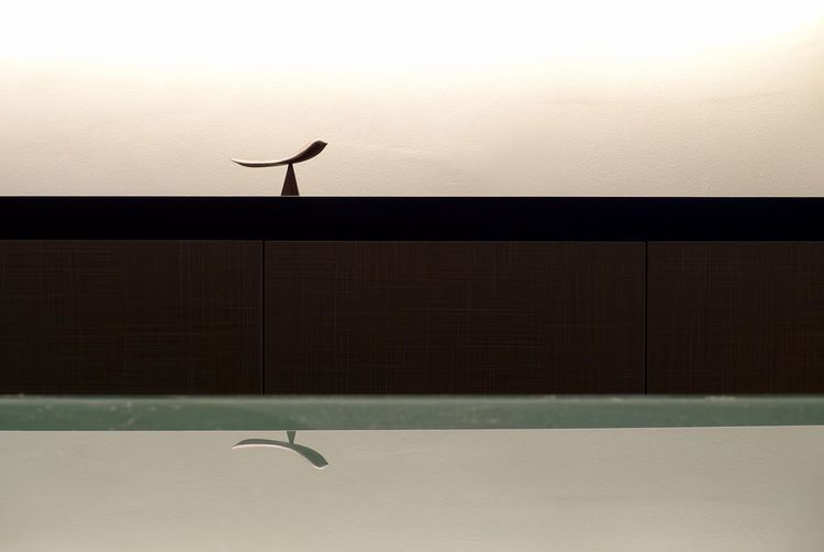 Bird souvenir against wall with reflection in glass