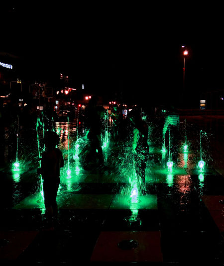 Happiness Happy People Kids Being Kids Kidsplaying Night Lights Nightphotography Playingwithlight Playingwithwater Water