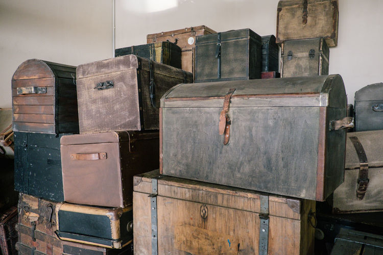 No People Stack Still Life Wood - Material Container Large Group Of Objects Indoors  Box Day Close-up Box - Container In A Row Arrangement Old Abundance Brown Nature Metal Baggage Luggage Suitcase