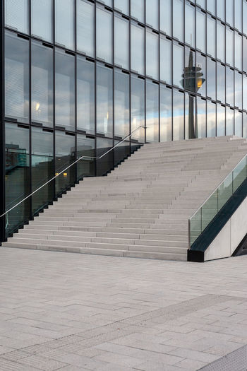 stairs and office building in Dusseldorf, Germany. Germany Düsseldorf Düsseldorf, Medienhafen City Rhine Tower Architecture Built Structure Building Exterior No People Glass - Material Building Railing Staircase Modern Office Outdoors Day Absence Steps And Staircases Window Nature Illuminated Pattern Footpath Office Building Exterior