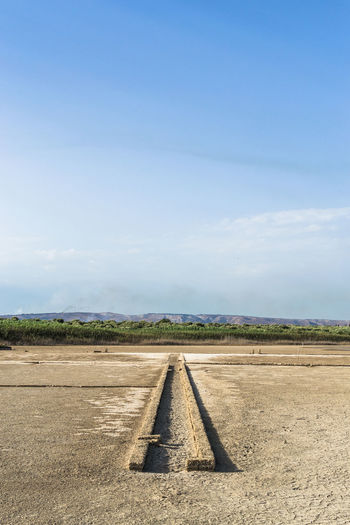 High angle view of gutter amidst dry field against sky