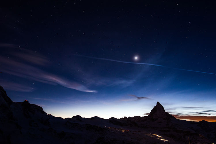 Le Cervin depuis le Gornergrat The Matterhorn from the Gornergrat Alps Alps Switzerland Astronomy Beauty In Nature Cervin Mountain Nature Night Nightphotography No People Outdoors Paysage People Scenics Sky Space Star - Space Star Field Tranquil Scene Tranquility Zermatt