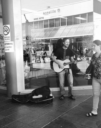 The talented Busker People Watching Streetphotography Bw_collection Blackandwhite