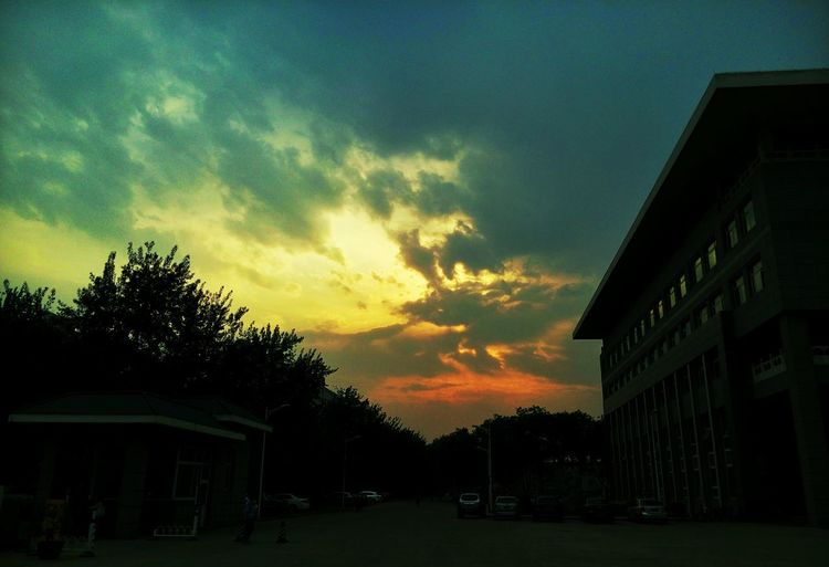 Taking Photos Enjoying Life Sunset Sky And City Sky And Clouds Beautiful World University Campus 华北电力大学 Construction Building Quite Time Street Photography China Light Colorful University Warm Colors Sunsets Sky Summer Light And Shadow Amazing View Sunny Day