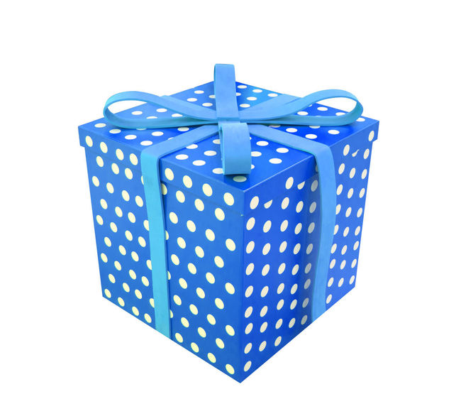 Blue Bow Box Box - Container Close-up Container Cut Out Gift Gift Box Indoors  No People Pattern Polka Dot Ribbon - Sewing Item Single Object Spotted Still Life Studio Shot Tied Bow White Background Wrapping Paper