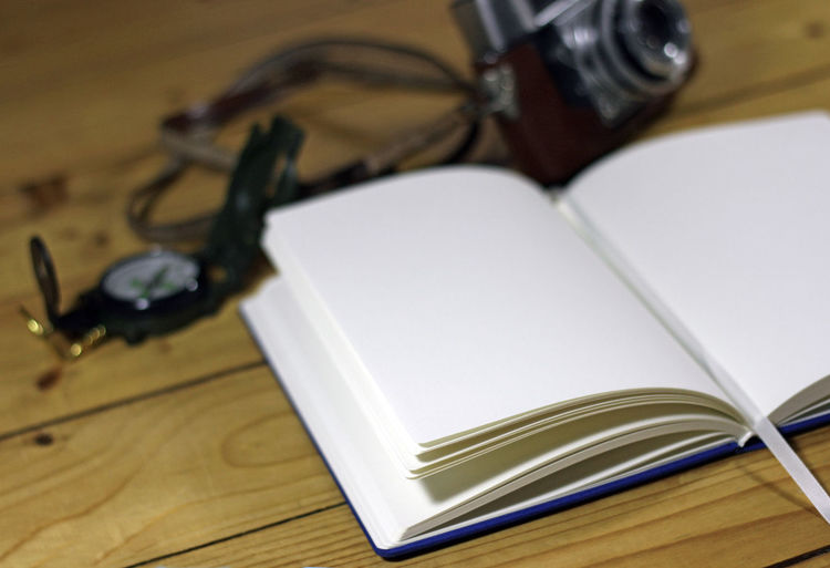 Close-up of book on table