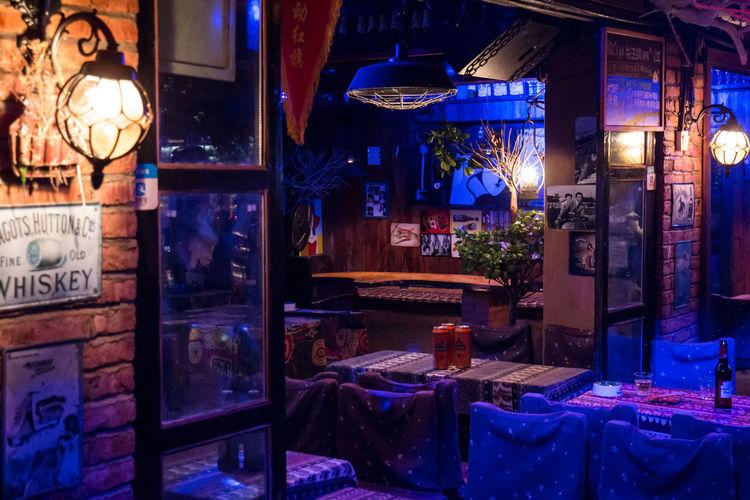 Serenity Architecture Bar Club Club Night Drinking Illuminated Night Store